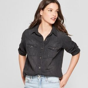 Universal threads distressed black denim shirt